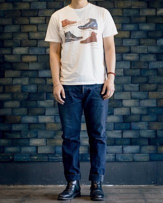 White Print Crew-neck T-shirt Outfits For Men: If you feel more confident wearing something functional, you'll love this city casual combo of a white print crew-neck t-shirt and navy jeans. Take your ensemble down a classier path by slipping into black leather chelsea boots.