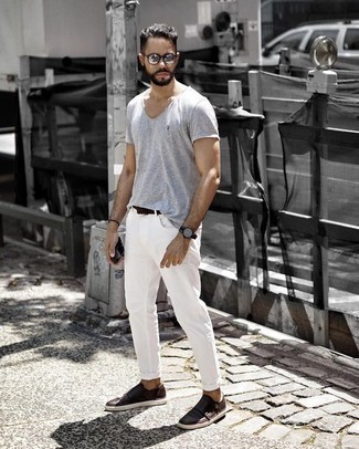 How to Wear Silver Sunglasses For Men: For a casually cool ensemble, wear a grey crew-neck t-shirt with silver sunglasses — these two pieces go perfectly well together. For something more on the classy side to round off this outfit, add a pair of dark brown leather double monks.