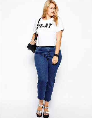 How to wear: white and black print crew-neck t-shirt, blue jeans, silver chunky leather heeled sandals, black leather crossbody bag