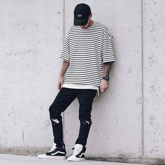 How to wear: white and black horizontal striped crew-neck t-shirt, black ripped jeans, black and white high top sneakers, black baseball cap