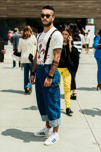 How to wear: white and red print crew-neck t-shirt, blue jeans, white and blue high top sneakers, black sunglasses