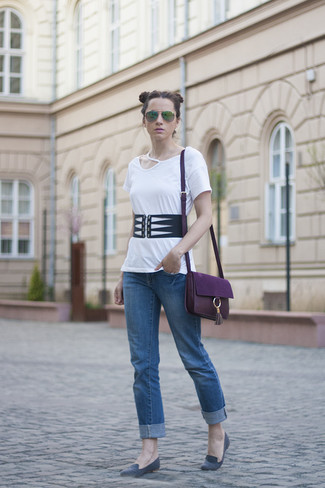 How to Wear a Dark Purple Leather Crossbody Bag Smart Casually: This combo of a white cutout crew-neck t-shirt and a dark purple leather crossbody bag is put together and yet it's functional enough and ready for anything. Add instant appeal to this look by finishing with grey suede loafers.