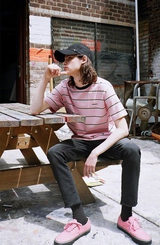 How to Wear a Pink Horizontal Striped Crew-neck T-shirt For Men: The formula for casual street style? A pink horizontal striped crew-neck t-shirt with black jeans. A pair of pink canvas low top sneakers is a nice choice to finish off this getup.