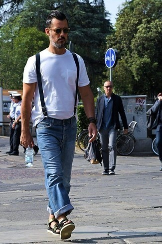 Black Leather Bracelet Outfits For Men After 40: Opt for a white crew-neck t-shirt and a black leather bracelet for a bold casual outfit that's also easy to throw together. Complete your ensemble with a pair of olive canvas sandals to bring an air of stylish casualness to this look. This ensemble is a big inspiration to anyone who was doubtful about sporting casual outfits as a gentleman in his forties.