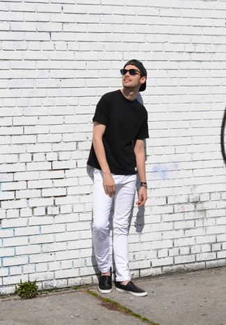 How to wear: black crew-neck t-shirt, white jeans, black leather slip-on sneakers, charcoal baseball cap