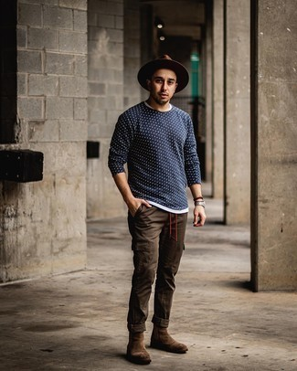 Brown Wool Hat Outfits For Men: A white crew-neck t-shirt and a brown wool hat are essential in any modern man's versatile casual arsenal. When it comes to footwear, go for something on the classier end of the spectrum and finish off your ensemble with brown suede chelsea boots.