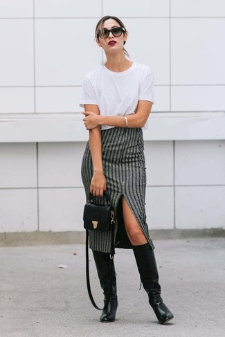 How to wear: white crew-neck t-shirt, grey vertical striped midi skirt, black leather knee high boots, black leather crossbody bag