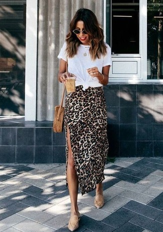 How to Wear a Tan Leopard Midi Skirt: This combo of a white crew-neck t-shirt and a tan leopard midi skirt is perfect when you need to feel confident in your outfit. Add an instant sultry vibe to this getup by slipping into a pair of tan leather loafers.