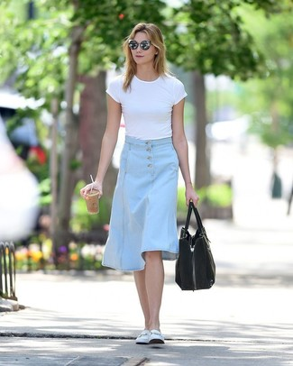How to wear: white crew-neck t-shirt, light blue denim midi skirt, white leather loafers, black suede tote bag