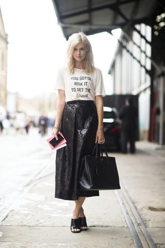 1127818c9c Women's White and Black Print Crew-neck T-shirt, Black Textured Midi ...
