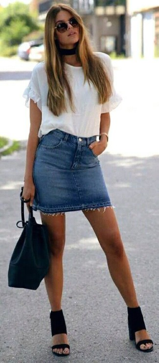 How to wear: white ruffle crew-neck t-shirt, blue denim mini skirt, black suede heeled sandals, black leather bucket bag