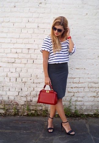 How to wear: white and navy horizontal striped crew-neck t-shirt, charcoal pencil skirt, black leather heeled sandals, red leather tote bag