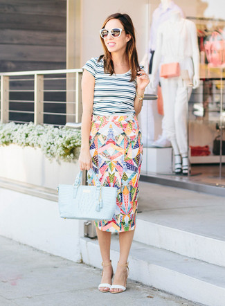 Women's White Horizontal Striped Crew-neck T-shirt, Multi colored Print Pencil Skirt, White Leather Heeled Sandals, Light Blue Leather Tote Bag
