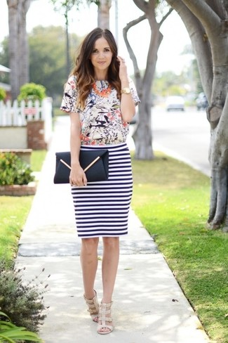 Women's White Print Crew-neck T-shirt, White and Navy Horizontal Striped Pencil Skirt, Beige Leather Heeled Sandals, Black Leather Clutch
