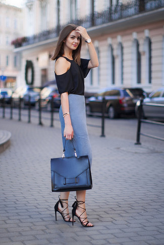 How to wear: black crew-neck t-shirt, blue pencil skirt, black suede heeled sandals, black leather satchel bag