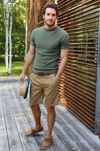 How to wear: olive crew-neck t-shirt, tan shorts, tan leather boat shoes, tan straw hat
