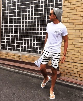 White Print Crew-neck T-shirt Outfits For Men: If you're looking for a street style and at the same time stylish look, team a white print crew-neck t-shirt with white horizontal striped shorts. Want to tone it down on the shoe front? Add a pair of white rubber flip flops to your ensemble for the day.