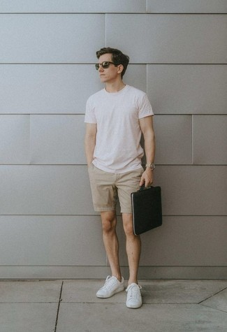 How to Wear Beige Shorts For Men: This combination of a white crew-neck t-shirt and beige shorts is a good ensemble for when it's time to clock off. If you're wondering how to round off, complement this look with white canvas low top sneakers.