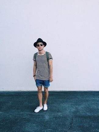 Fashion for 20 Year Old Men: What To Wear: For a cool and casual ensemble, pair a white and navy horizontal striped crew-neck t-shirt with blue denim shorts — these two pieces work really great together. Our favorite of a countless number of ways to round off this ensemble is with a pair of white canvas low top sneakers. This combo shows that maturing from your 20s to your 30s is no reason to stop dressing casually.