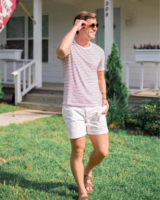 How to wear: white and red and navy horizontal striped crew-neck t-shirt, white shorts, brown leather sandals, dark brown sunglasses
