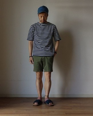 How to Wear a Dark Brown Leather Bracelet For Men: Pair a navy and white horizontal striped crew-neck t-shirt with a dark brown leather bracelet if you're on the lookout for a look option for when you want to look casually cool. Tone down the classiness of this look by finishing with navy canvas sandals.