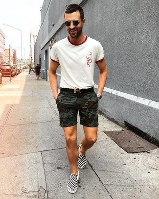 How to wear: white crew-neck t-shirt, olive camouflage shorts, black and white check canvas slip-on sneakers, black leather belt
