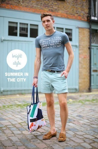 How to Wear Light Blue Shorts For Men: If the setting allows an off-duty menswear style, marry a light blue print crew-neck t-shirt with light blue shorts. If you want to instantly polish up this outfit with one single item, complete your look with a pair of tan suede tassel loafers.