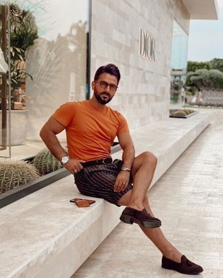 Dark Brown Suede Tassel Loafers Outfits: Such items as an orange crew-neck t-shirt and dark brown vertical striped shorts are the ideal way to introduce effortless cool into your casual wardrobe. If you feel like playing it up a bit now, add dark brown suede tassel loafers to the equation.