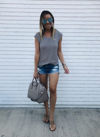 How to wear: white and black horizontal striped crew-neck t-shirt, blue ripped denim shorts, brown leather thong sandals, grey leather satchel bag