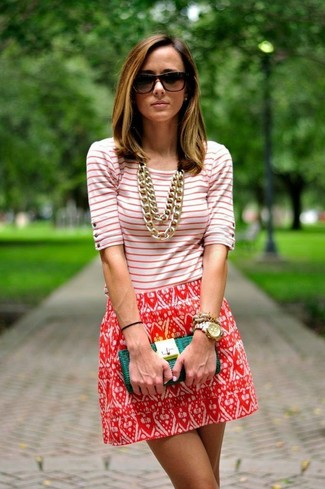 Women's White and Red Horizontal Striped Crew-neck T-shirt, White and Red Print Skater Skirt, Green Leather Clutch, Dark Brown Sunglasses