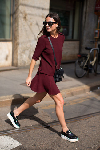 Consider pairing a burgundy crew-neck t-shirt with a ring for a lazy Sunday brunch. Add a glam twist to your look with black leather loafers. So if you're on the hunt for an insta-worthy outfit on a baking hot afternoon, this is it.