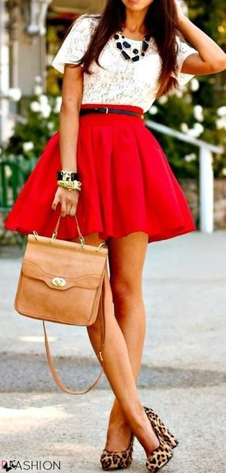 Go for a white lace crew-neck tee and a red skater skirt for a relaxed take on day-to-day wear. A cool pair of tan leopard suede pumps is an easy way to upgrade your look.