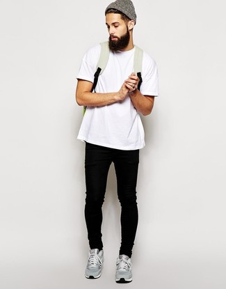How To Wear a White Crew-neck T-shirt With Black Jeans | Men's Fashion