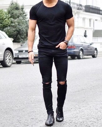 which skinny jeans to wear with black and white leather