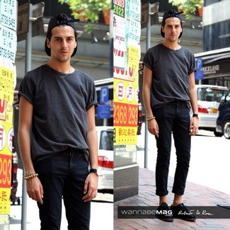 Men S Charcoal Crew Neck T Shirt Black Skinny Jeans Leather Derby Shoes Baseball Cap Fashion