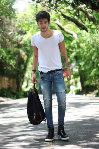 44b933d78f81 How To Wear Black Leather Sneakers With Blue Jeans For Men (19 looks ...