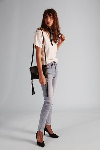 How to wear: white crew-neck t-shirt, light blue skinny jeans, black suede pumps, black leather crossbody bag