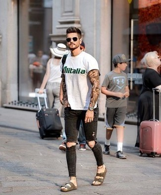 Black Leather Backpack Summer Outfits For Men: Dress in a white and green print crew-neck t-shirt and a black leather backpack for relaxed dressing with a modern spin. Complete your look with brown suede sandals to avoid looking overdressed. Naturally, it's easier to work through a hot summertime day in a fresh combo like this one.