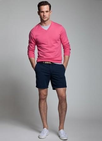 Men's' Grey Crew-neck T-shirt, Hot Pink V-neck Sweater, Dark Brown ...