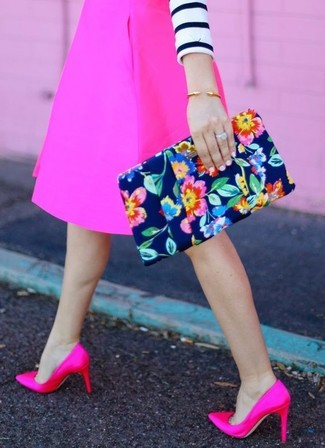 How to wear: white and navy horizontal striped cropped sweater, hot pink a-line skirt, hot pink satin pumps, navy floral clutch