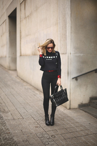 Women's Black and White Print Cropped Sweater, Red Plaid Button Down Blouse, Black Skinny Jeans, Black Leather Ankle Boots