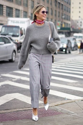How to wear: grey cropped sweater, grey plaid culottes, silver leather mules, red print bandana