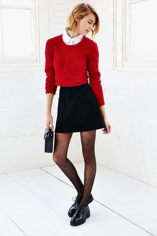 How to wear: red cropped sweater, white dress shirt, black a-line skirt, black chunky leather oxford shoes
