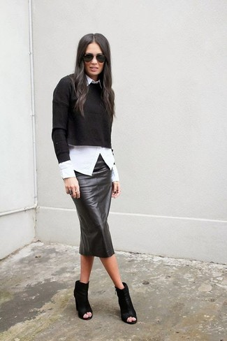 How to wear: black cropped sweater, white dress shirt, black leather pencil skirt, black cutout leather ankle boots