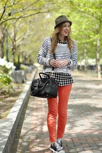Black and white tartan skinny jeans