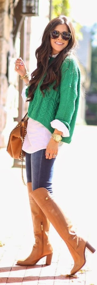 Try teaming a green knit cropped sweater with navy skinny jeans for an effortless kind of elegance. Add tobacco leather thigh high boots to your look for an instant style upgrade.