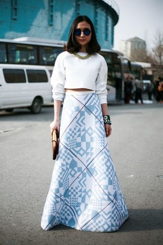Women's White Cropped Sweater, White and Blue Geometric Maxi Skirt ...