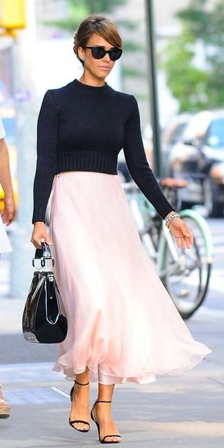 14547f636f ... Women's Black Cropped Sweater, Pink Chiffon Maxi Skirt, Black Leather  Heeled Sandals, Black