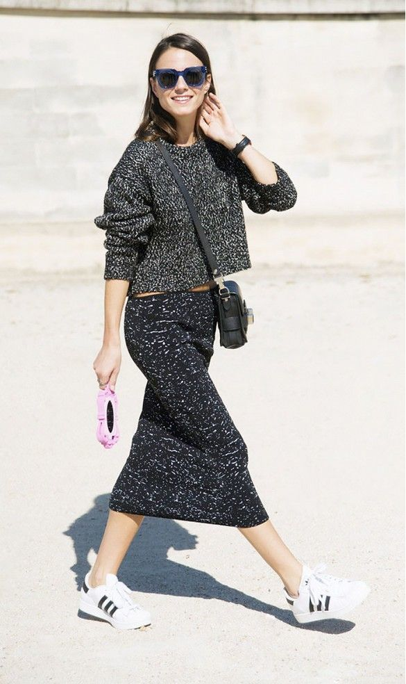 Women's Charcoal Knit Cropped Sweater, Charcoal Knit Midi Skirt ...