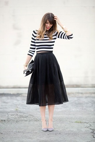 How to wear: white and black horizontal striped cropped sweater, black mesh midi skirt, white and black horizontal striped leather pumps, black leather clutch